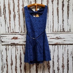 Royal blue rose backless dress